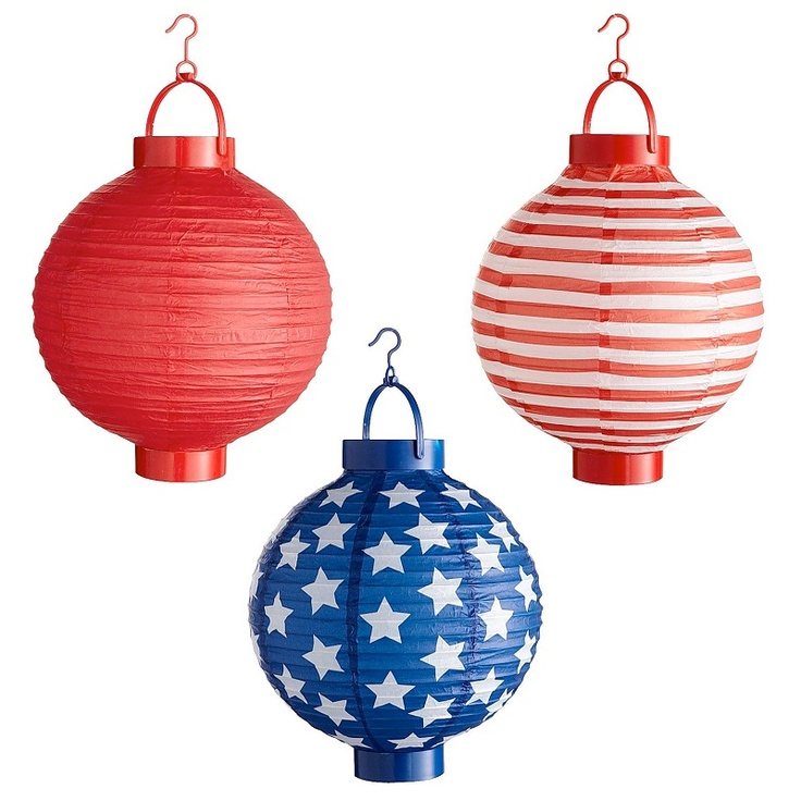 Celebrate Fourth of July with festive Flag Paper Lanterns...a fourth of July decoration I can deal with.