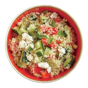 Greek-Style Couscous   MyRecipes.com Mix cucumber, tomato, and oregano into couscous and sprinkle with feta to make this Greek-Style Couscous.