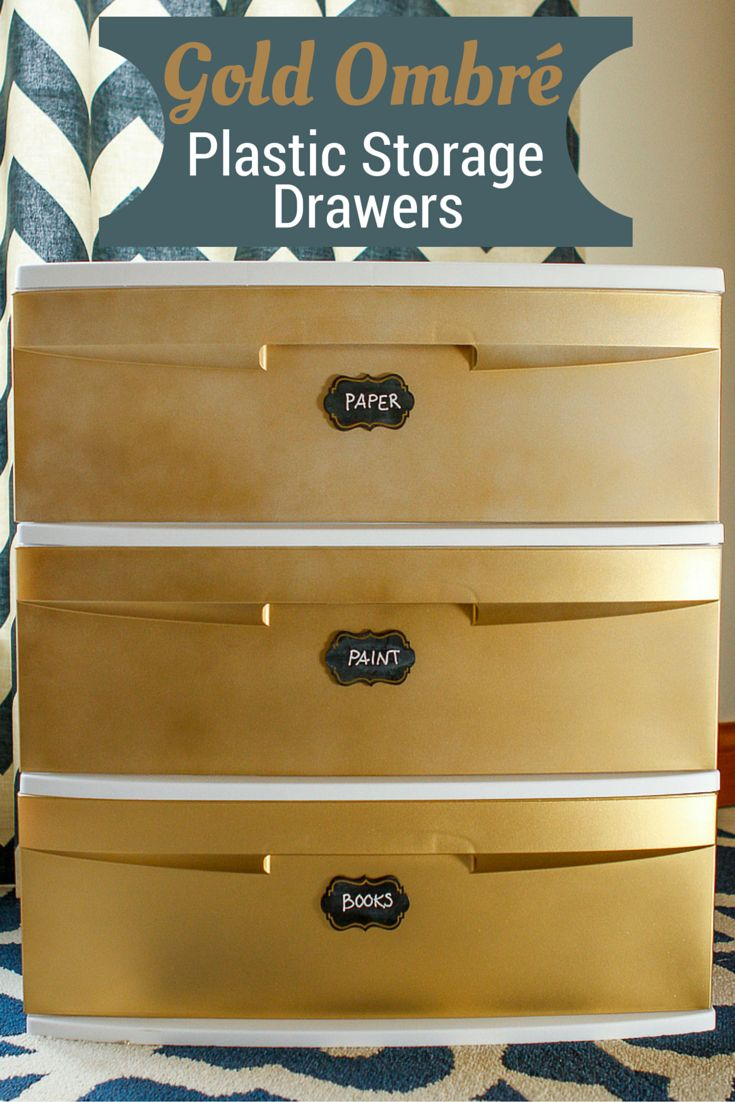 Decorate Plastic Storage Drawers -- transform a basic plastic storage cart with gold ombré spray paint and chalk paint labels! This is an especially great project for students heading off to college... Inexpensive yet pretty storage is hard to come by! | via @unsophisticook on unsophisticook.com