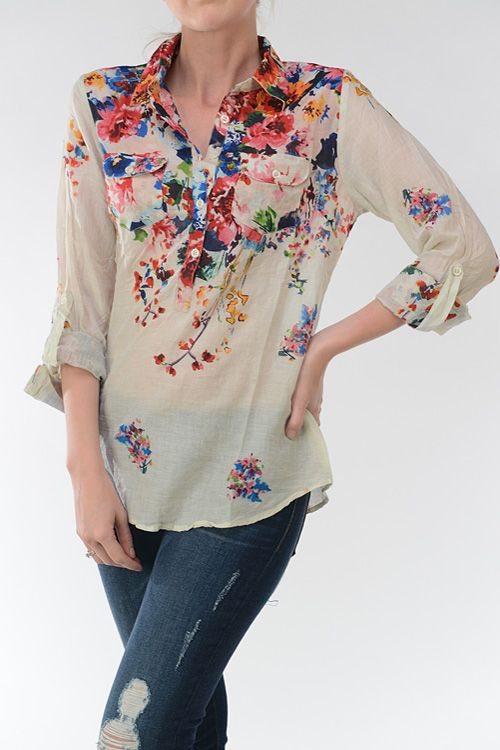 Madeline Shirt in Natural Undyed Cotton on Emma Stine Limited. Oooh.... absolutely adore this Emma Stine floral blouse! Has such a handcrafted look to it, but at close to $100, too rich for my blood. Gorgeous, though!