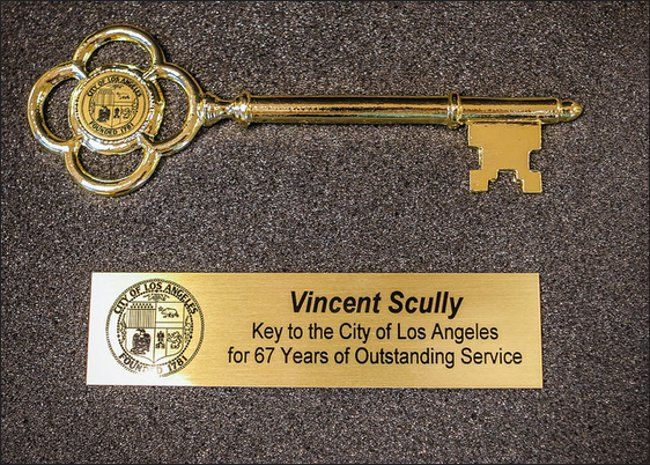 "Vin Scully Presented With The Key To The City Of Los Angeles - http://anythingla.com/vin-scully-presented-with-the-key-to-the-city-of-los-angeles/ - [caption id=""attachment_7953"" align=""aligncenter"" width=""650""] The Key to the City of Los Angeles given to Vin Scully by Mayor Eric Garcetti on Vin Scully Appreciation Day. Photo courtesy of Mayor Eric Garcetti's office.[/caption] Mayor Garcetti Presented Vin Scully with Key to the City of Los Angeles Mayor Eric Garcetti pres"