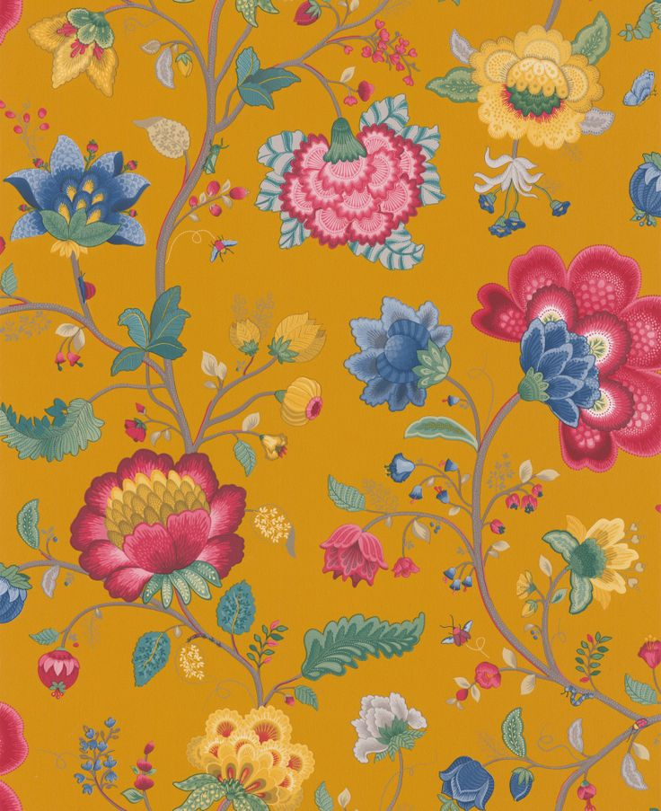 Floral Fantasy Mustard Yellow wallpaper by Pip Wallpaper