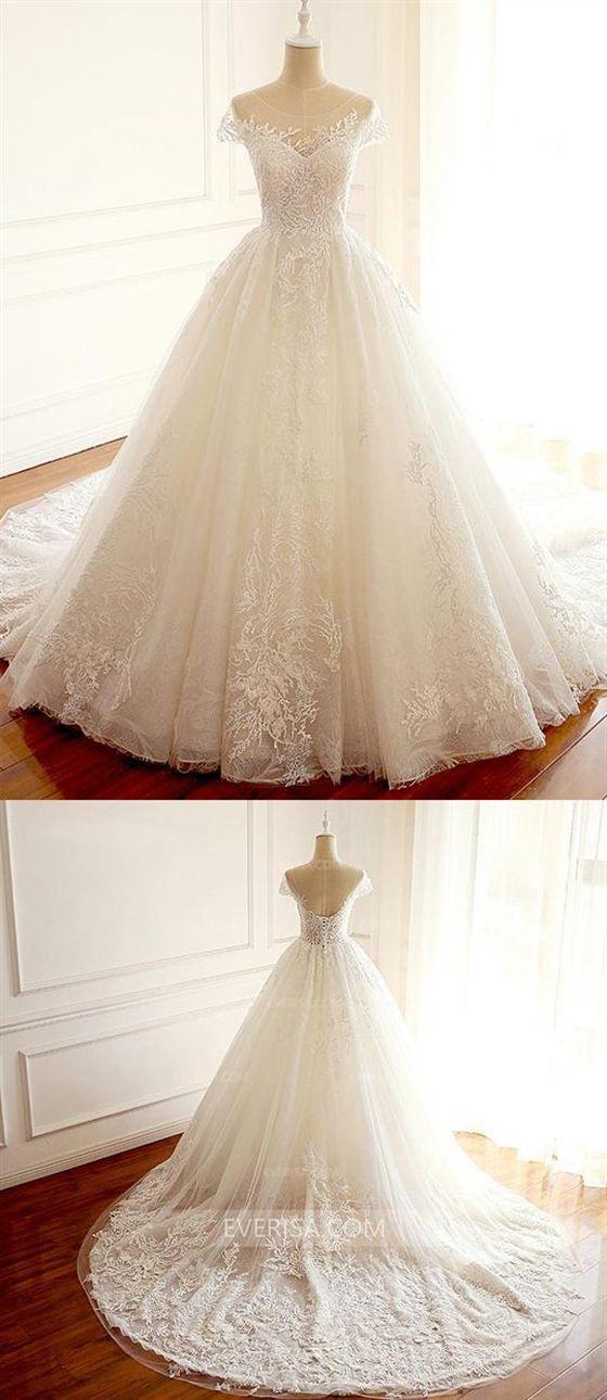 White Scoop Neck Cap Sleeves Long Wedding Dresses Cheap Bridal Gown Vestidos De Novia Traje De Novio Vestidos De Fiesta