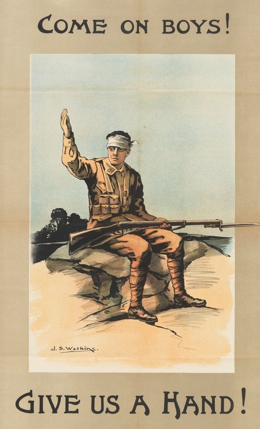 Recruitment posters and propaganda from WWI.