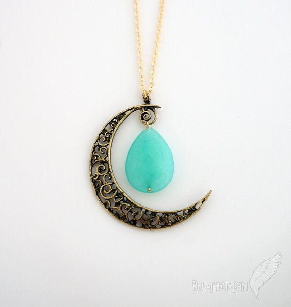 "Vintage Boho Half Moon Pendant, Faceted Teardrop, Simple Cable Chain, LONG 25"" Necklace on Etsy, $19.95"