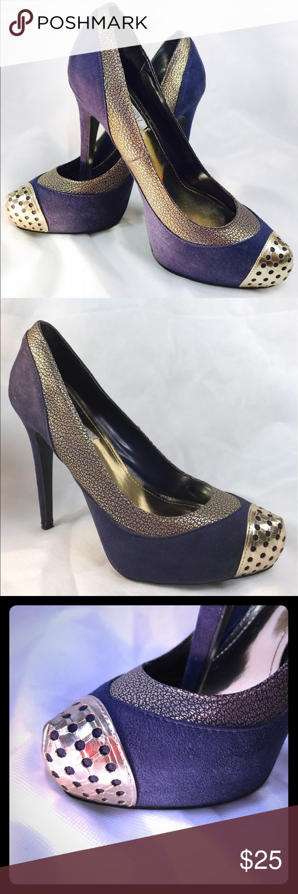 Jennifer Lopez Stylish Platforms Step out in style with these purple and gold platforms. A little worn on the right shoe. Picture included. Jennifer Lopez Shoes Platforms