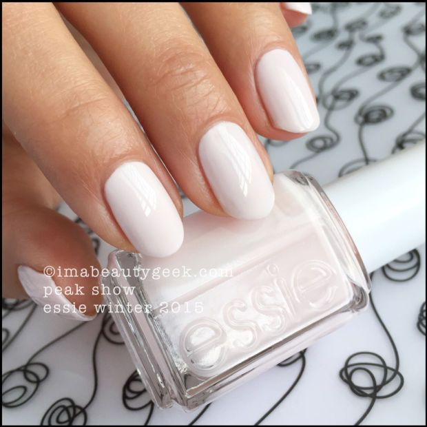 "Essie Winter 2015 – Essie Peak Show. ""Um, Essie Fiji vs Essie Peak Show... Peak Show is whiter and not as much of a pastel pink as a lightly pink white. I know - that seems like semantics but if you could see them together, you'd see what I mean. They're close - Peak Show is just a little softer."""