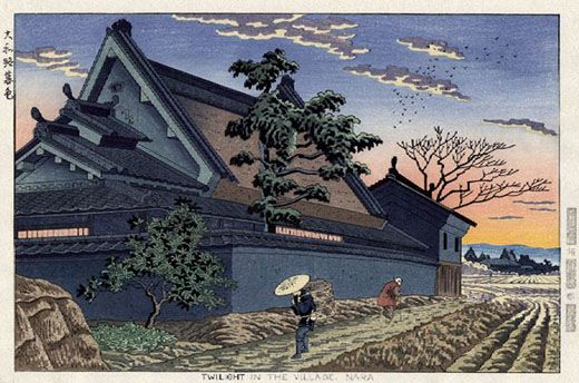 Twilight in the Village, Nara  by Takeji Asano, 1953Japanese Woodblock, Woodblock Prints