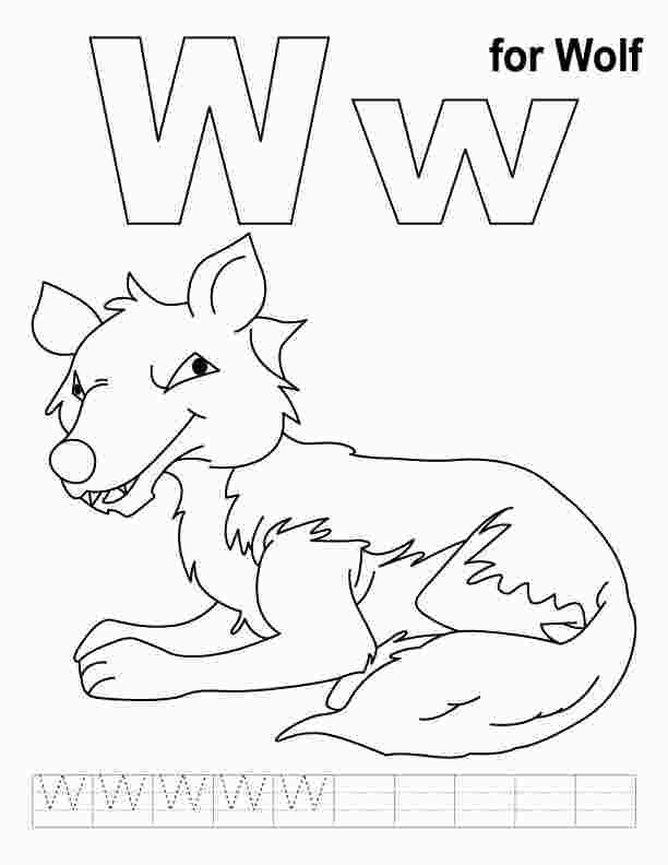 W Is For Wolf Coloring Page Kids Handwriting Practice Preschool