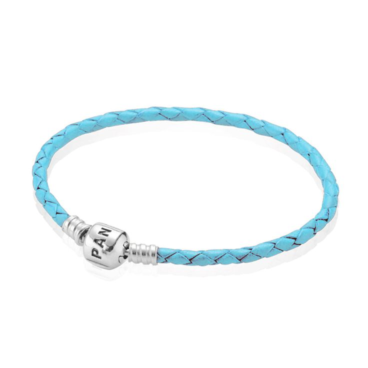 Light Blue Single Leather Silver Clasp Bracelet | PANDORA, Bracelet, light blue leather, single, sterling silver clasp, CA$38.98 45% OFF, Buy Now: http://www.pandoracanada2013.com/pandora-turquoise-leather-bracelet.html