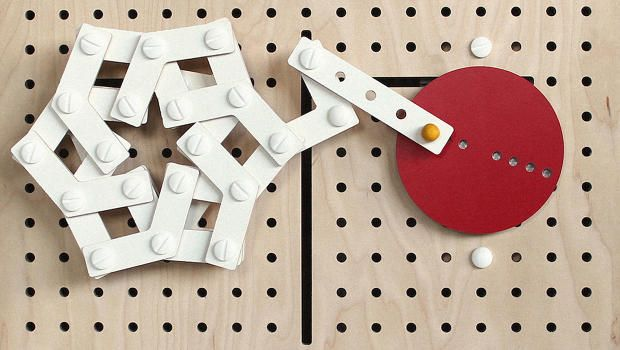 LINKKI is a kinetic toy construction set based on planar linkage mechanisms that allows kids to design simple movements.   https://www.fastcodesign.com/3052802/a-clever-modular-toy-that-teaches-kids-kinetic-design