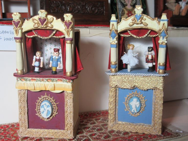 """My Victorian toy puppet theatres 4.5"""" tall, featuring hand carved, painted  puppets, made in October 2017 by Laura Lisowsky."""