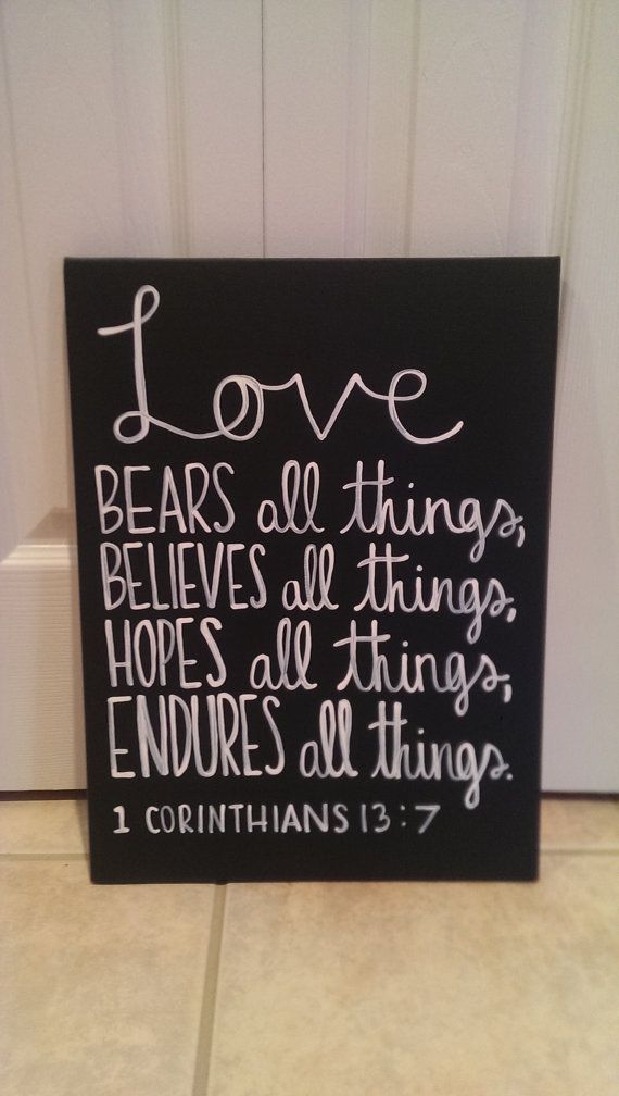 1st Corinthians Bible Verse Canvas Love Bears All Things on Etsy, $18.00