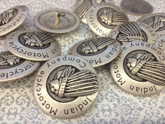 1 Dozen Original Indian Motorcycle Company Antique Silver Vintage Shank Buttons(k3978) on Etsy, $12.00 CAD