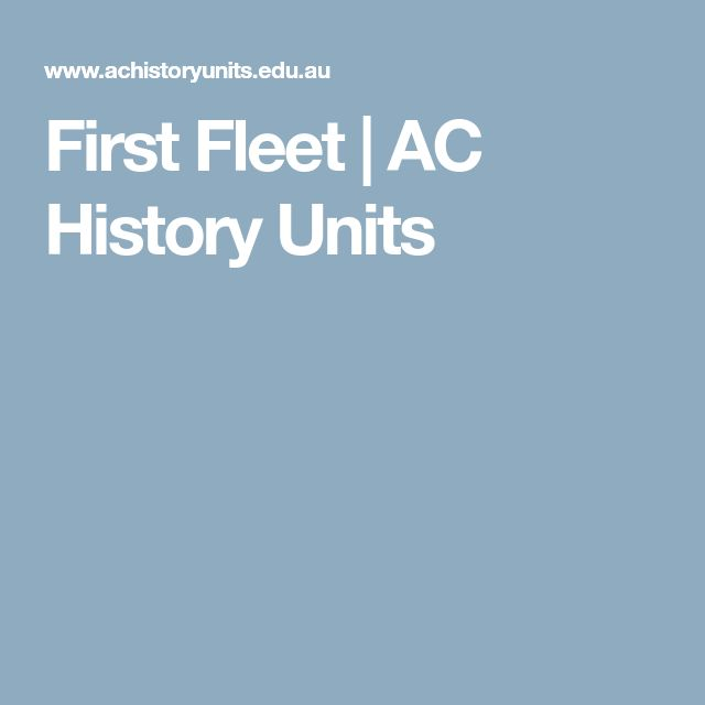 First Fleet | AC History Units