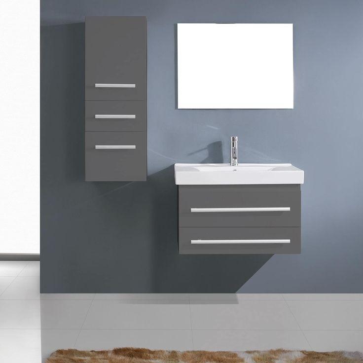 Virtu USA Antonio Brown/Grey Rubberwood/Ceramic 30-inch Bathroom Vanity Set  With Linen Cabinet (Espresso - Nickel Finish), Size Single Vanities
