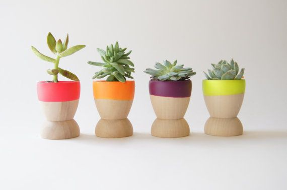 Mini Planters set of 4 Neon Pink Orange by WindandWillowHome, $29.00