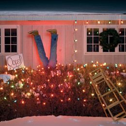 Winter decorating idea- make it look like someone fell while hanging lights outside!