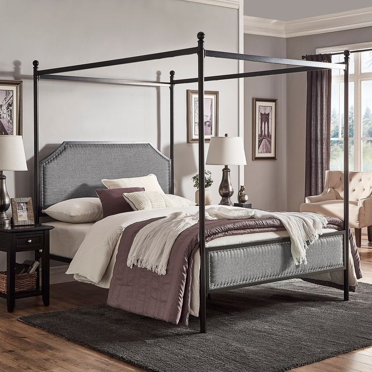 Rayen Grey Upholstered Metal Canopy Queen Bed by iNSPIRE Q