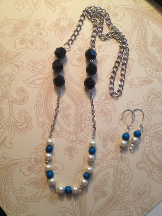 Blue Pear and Black  Beaded Opera Length Necklace by BeyondtheWire