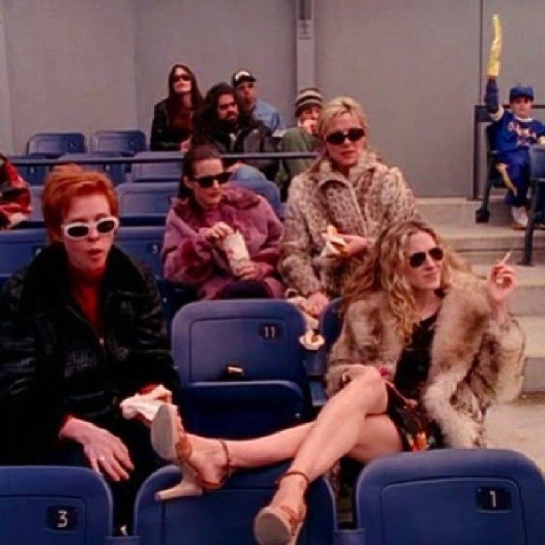 Like when she went to a baseball game wearing fur and no tights and heels. | 30 Of Carrie Bradshaw's Most Ridiculous Outfits