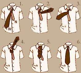Six steps for a simple tie knot.