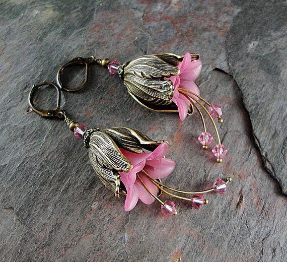 Pink flower earrings pink tulip earrings beaded by thepinkmartini