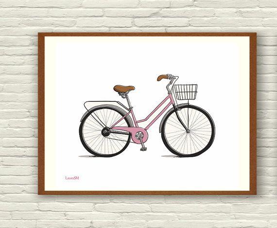 2 ilustraciones lamina bicicleta bici rosa bici por Ilustracionymas