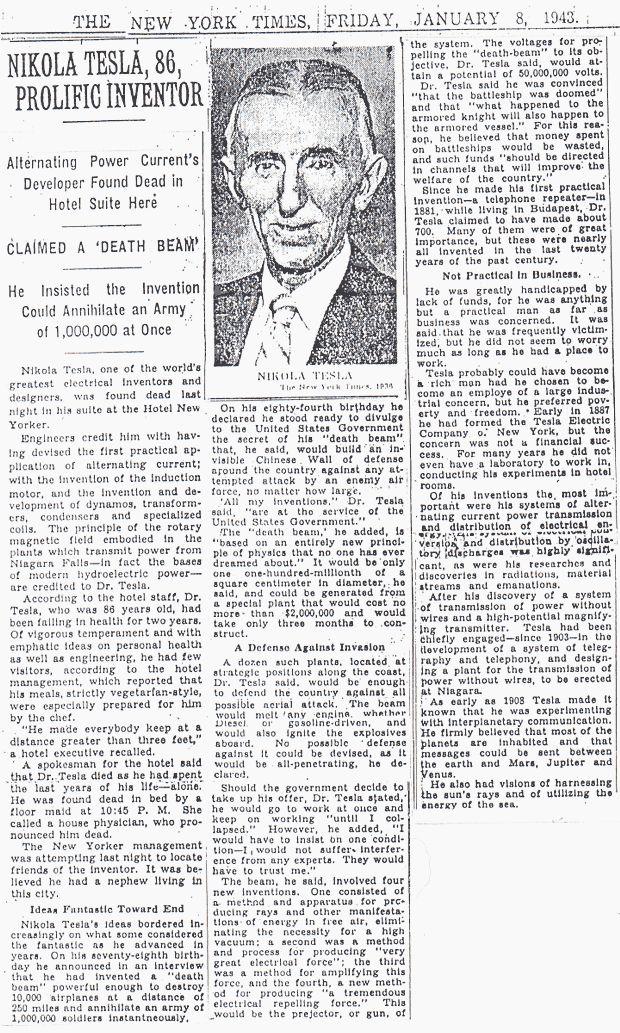 Tesla's death, New York Times 1943