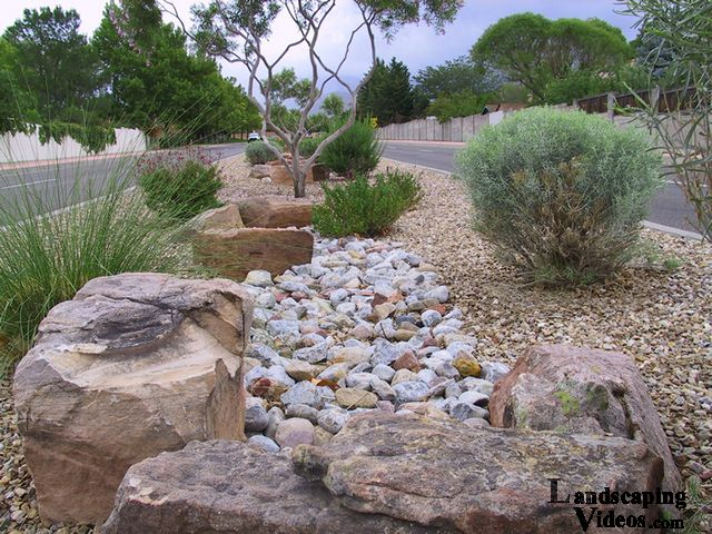 Large Landscape Boulders Dallas : Fake rvier bed desert xeriscape the large decorative rocks add some