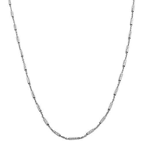 Rhodiumplated Sterling Silver Diamond-cut Tube Station Chain (18 Inch) Kooljewelry. $15.99. Weighs 3.2 gram(s). An essential piece by itself or combined with your favorite pendant. Classic other chain type chain makes a simple basic casual necklace. Crafted in sterling silver. Comes with a comfortable lobster claw closure. Save 70% Off!