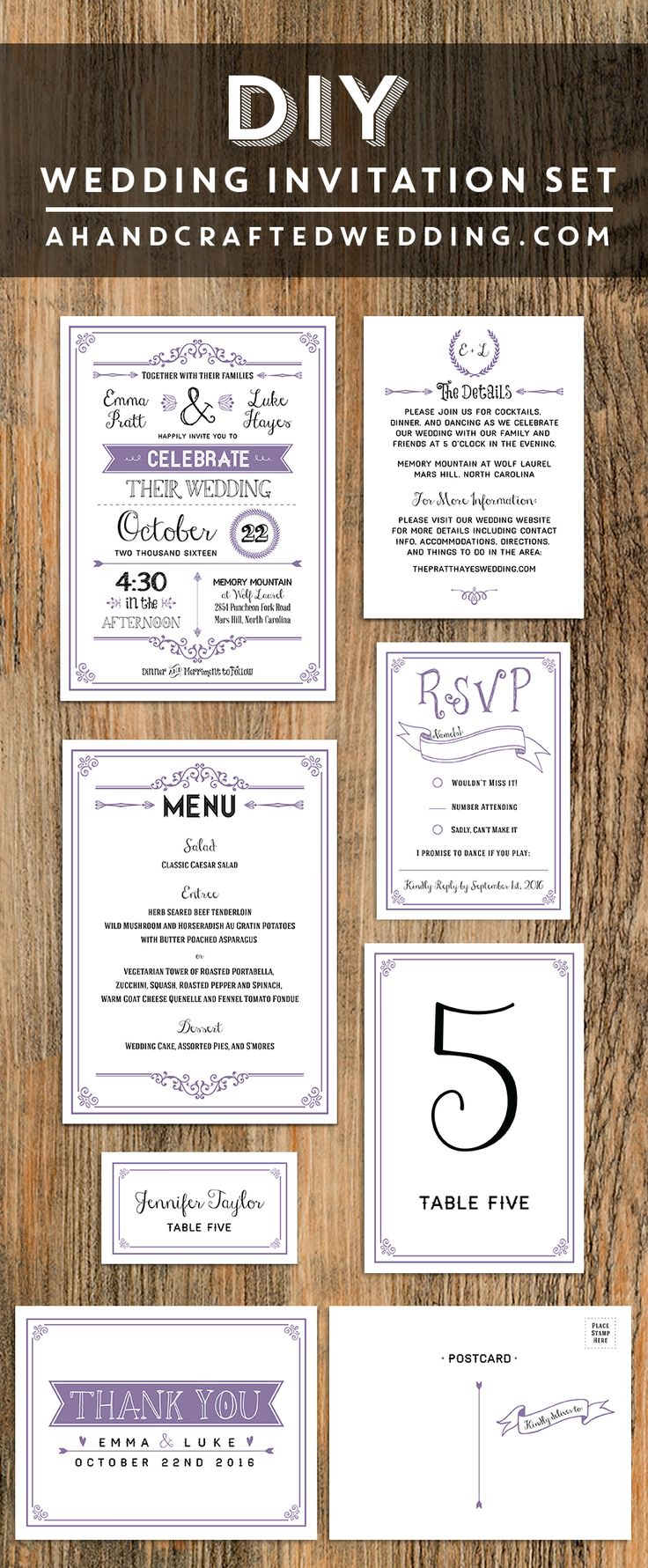 wedding invitations online au%0A Lavender DIY Wedding Invitation Set   ahandcraftedwedding com  printable   invitations