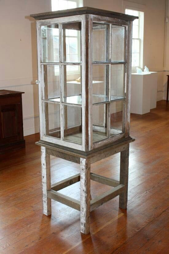 farmhouse window styles | Farmhouse style curio cabinet made from old windows.