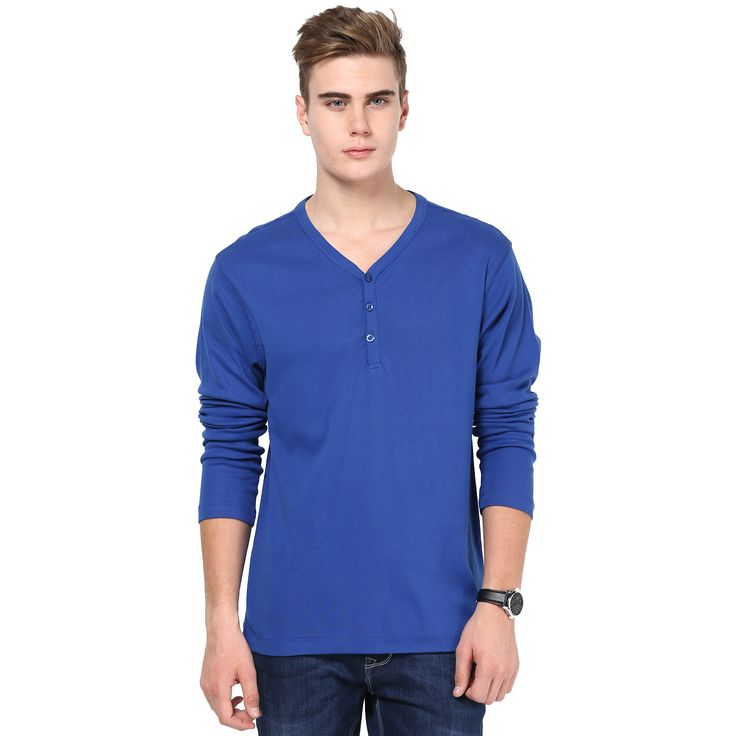 MUDO Solid Ink Blue Henley T-shirt for men