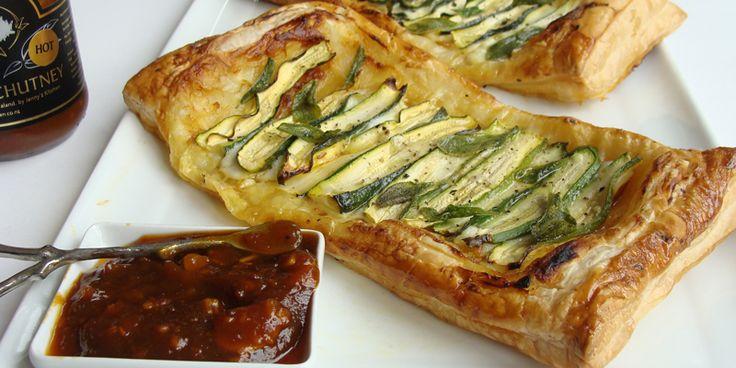 Vegetable Tarte - an elegant lunch treat.  http://jennyskitchen.co.nz/blog/tamarind-mozzarella-zucchini-tarte/