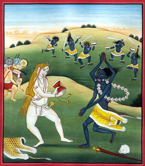 """Folk art: """"Oh Kali, my Mother full of Bliss! Enchantress of the almighty Shiva!  In Thy delirious joy Thou dancest, clapping Thy hands together!  Thou art the Mover of all that move, and we are but Thy helpless toys."""" Ramakrishna Paramahansa"""