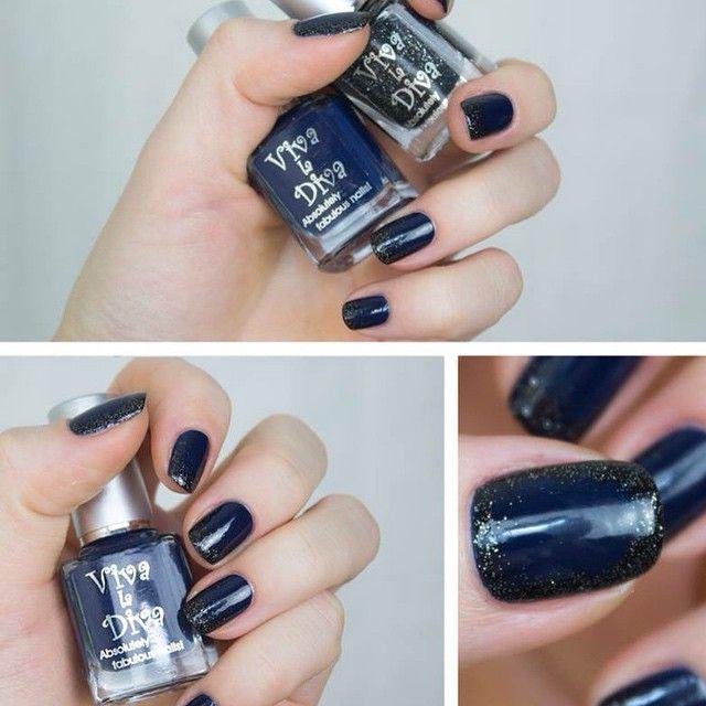 Blue & Black Nails! #vivaladiva #nailpolish #blackstar #powerful by @stjima #black #blue #nailart @vivaladivacosmetics