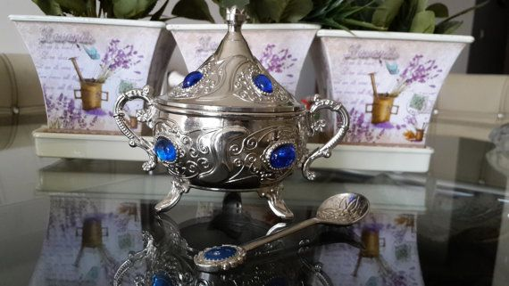 Silver Plated sugar bowl decorated with blue beads by Myowncoffee