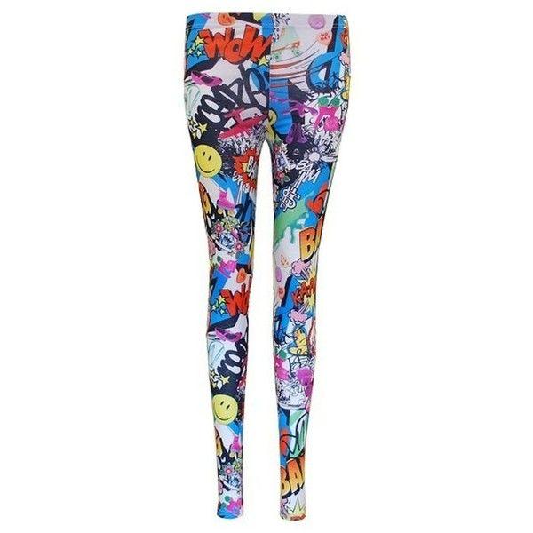 The Home of Fashion New Womens Cream Multi Coloured Cartoon Print... ($2.48) ❤ liked on Polyvore featuring pants, leggings, comic print leggings, long trousers, multi color leggings, stretchy pants and long leggings