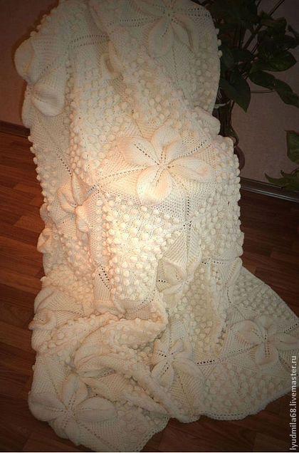 """покрывало вязаное спицами"""" Белоснежный цветок""""(одеяло,вязаный плед) -"""