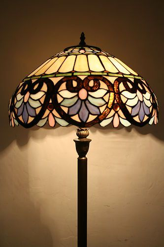 "Tiffany Floor Lamp 18""W Stained Glass"