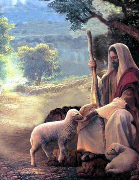Jesus feeding sheep.