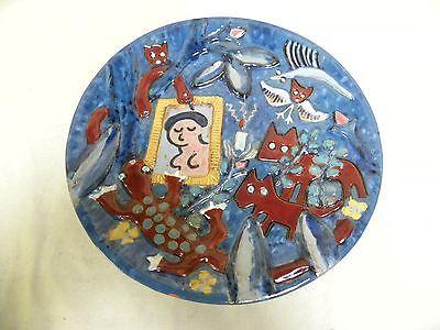 Rare-Vintage-Modern-Eames-Era-Michel-Jolivet-Red-Clay-Folk-Art-Pottery-Platter