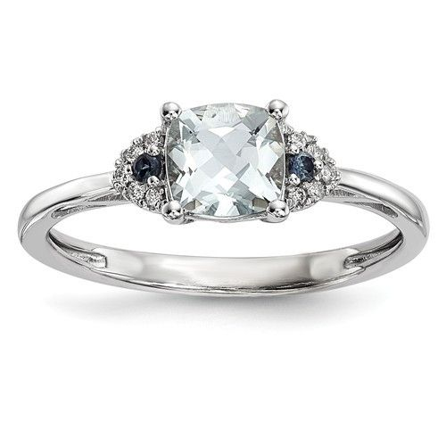 14k White Gold Cushion Genuine Aquamarine, Blue Sapphire & Diamond Ring
