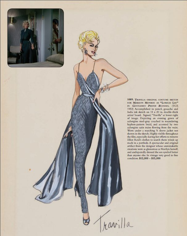 Travilla costume design for Marilyn in Gentlemen Prefer Blondes, 1952. Source: Profiles in History Hollywood Auction 83.