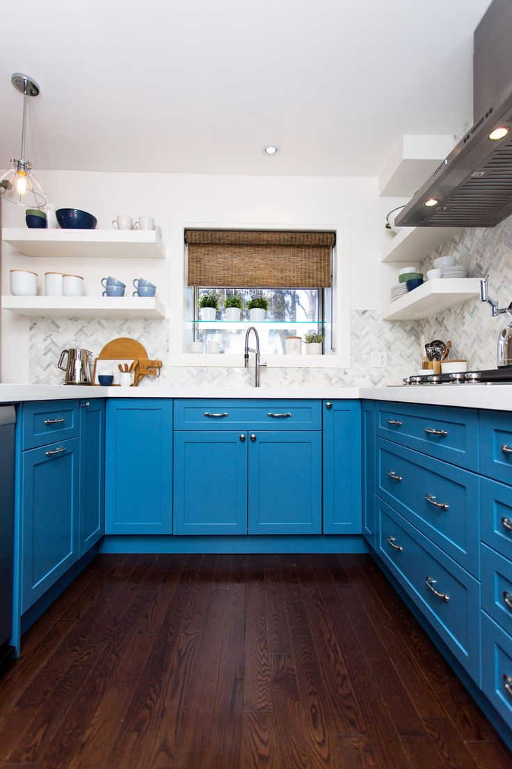 Little Blue Kitchen. Custom cabinets in Benjamin Moore Blue Nose CC ...
