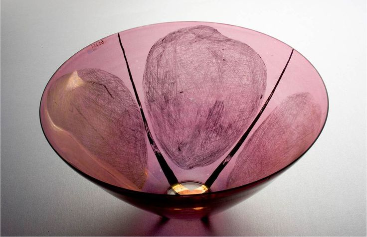 Lubomir Blecha, glass bowl produced for XI. Triennale Milano, light-smoked glass decored by gold, 1957, H: 15,0 cm, D: 28,0 cm, executed by Bohumil Blecha glass rafinery in Kamenicky Senov (Steinschoenau), UMPRUM Prague, (Museum of decorative Arts, Prague), Czechoslovakia