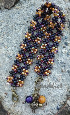 Maze Lace bracelet.pattern by sabine Lippert.Beaded by Beaddict. Seed beads, purple, topaz.