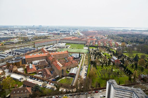 View over 'Sydhavnen' from 'Bohrs Tårn' in Copenhagen