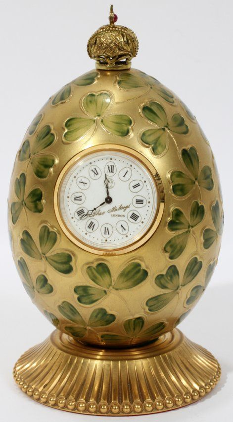 """071273: THEO FABERGE ENAMEL EGG WITH CLOCK, H 5 1/4"""" - One of my many favourites-of course because it has shamrocks!"""